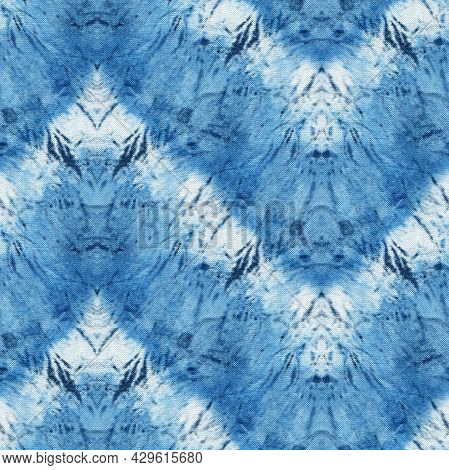 Seamless Tie-dye Pattern Of Indigo Color On White Silk. Hand Painting Fabrics - Nodular Batik. Shibo