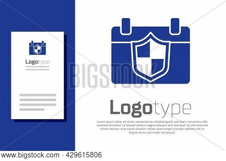 Blue Calendar With Shield Icon Isolated On White Background. Insurance Concept. Guard Sign. Security