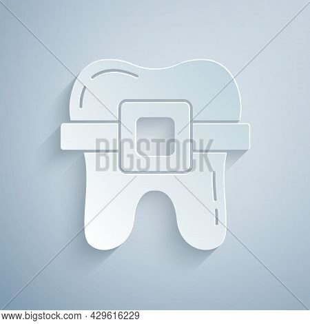 Paper Cut Teeth With Braces Icon Isolated On Grey Background. Alignment Of Bite Of Teeth, Dental Row