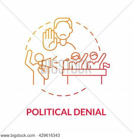 Political Denial Gradient Concept Icon. Ideology And Movements. Politicians Against Eco Regulation.