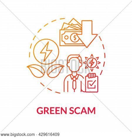 Green Scam Concept Icon. Fake Manufactory. Exploiting Global Warming Issue For Customers Hoax. Clima