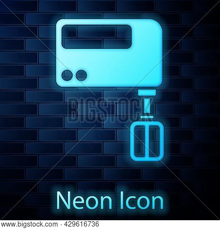 Glowing Neon Electric Mixer Icon Isolated On Brick Wall Background. Kitchen Blender. Vector