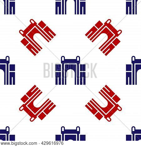 Blue And Red India Gate In New Delhi, India Icon Isolated Seamless Pattern On White Background. Gate