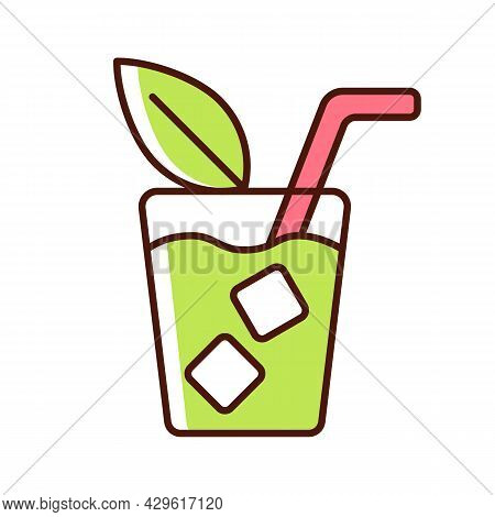 Iced Tea Rgb Color Icon. Refreshing Summer Beverage Served In Glass. Cold Sweet Drink With Lemon And