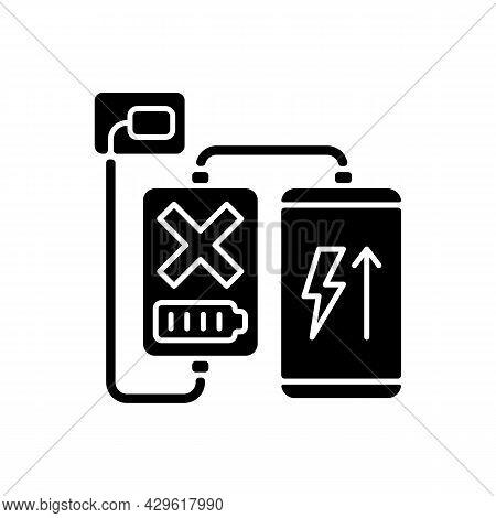 Charging, Discharging Powerbank Black Glyph Manual Label Icon. No Pass-through Charging. Heat Build-