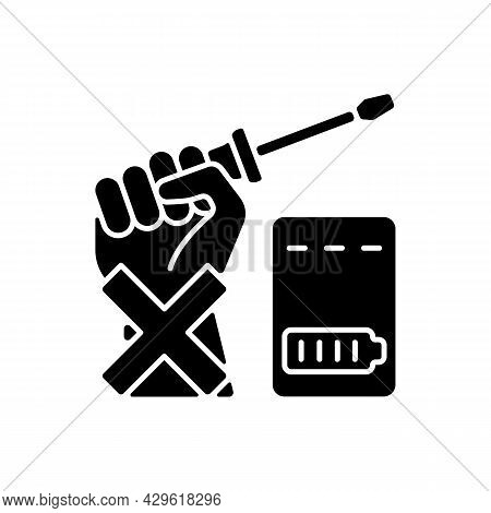 Dont Repair Power Bank By Yourself Black Glyph Manual Label Icon. Avoid Dismantling Battery Pack. Si