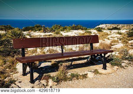 Rest Place With Bench On Cape San Antonio. Mediterranean Seascape On Costa Blanca, North Coast Of Al