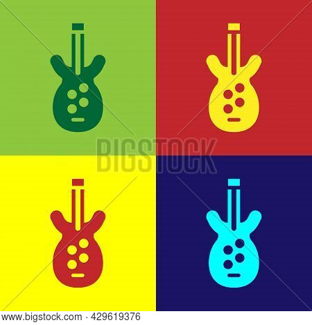 Pop Art Electric Bass Guitar Icon Isolated On Color Background. Vector
