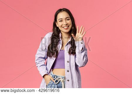 Hello Nice To Meet You. Cute Stylish Young Girl Meet New People At Work, Waving Hand And Smiling Wit