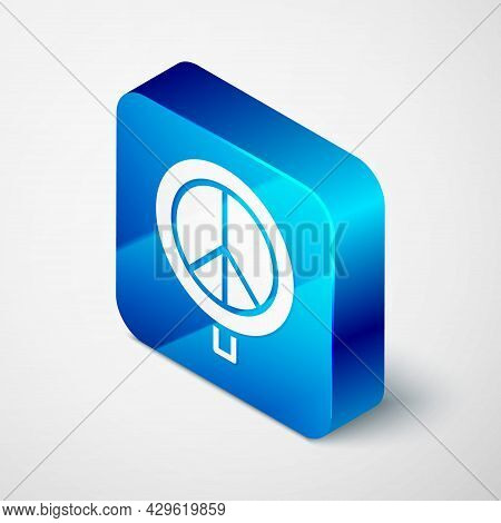 Isometric Peace Icon Isolated On Grey Background. Hippie Symbol Of Peace. Blue Square Button. Vector