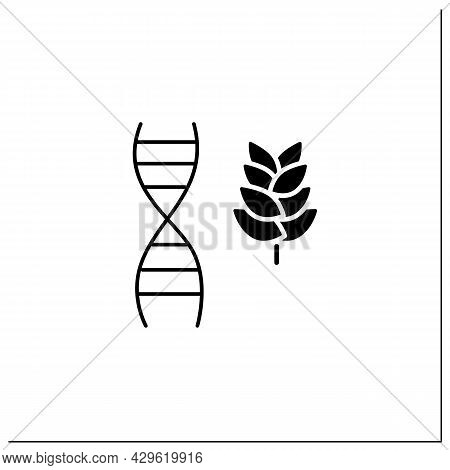 Non Gmo Crop Glyph Icon.gmo Absence. Organic Products. Agriculture. Healthy. Genetically Modified Or