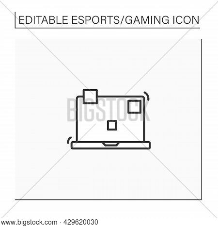 Laptop Line Icon. Playing Video Game Tools. Technical Equipment. Cybersport Concept. Isolated Vector