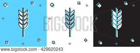 Set Cereals Set With Rice, Wheat, Corn, Oats, Rye, Barley Icon Isolated On Blue And White, Black Bac