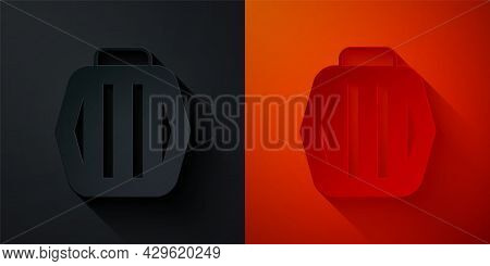 Paper Cut Pet Carry Case Icon Isolated On Black And Red Background. Carrier For Animals, Dog And Cat