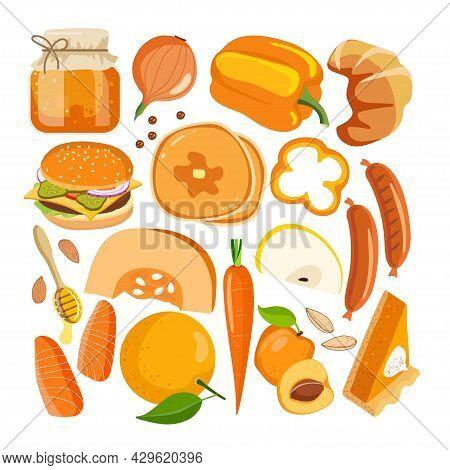 Orange Color Vector Food. Vegetables, Fruits And Other Food On White. Chromotherapy, Color Benefits