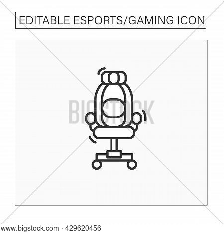 Gaming Armchair Line Icon. Comfortable Chair For Playing Games. Furniture.back Protection. Cyberspor