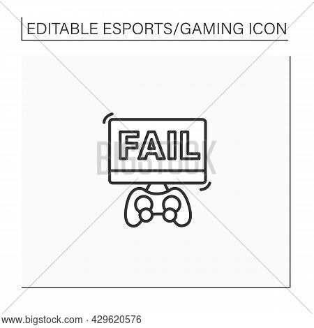 Losing Game Line Icon. Fail Video Game. Esports. Cybersport Concept. Isolated Vector Illustration.ed