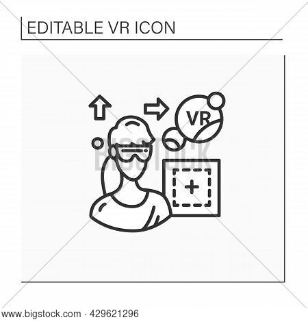 Vr Play Area Line Icon. Area Where Players Can Immerse Into 3d World. Special Room, Place. Modern Te