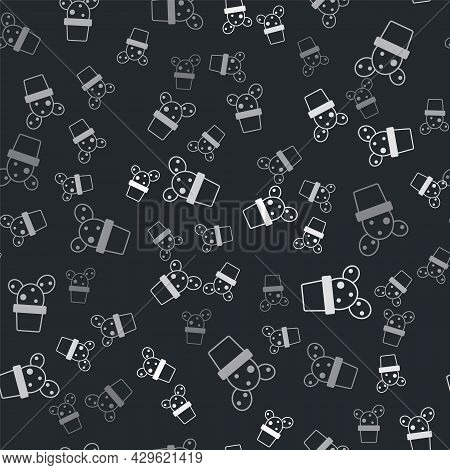 Grey Cactus And Succulent In Pot Icon Isolated Seamless Pattern On Black Background. Plant Growing I
