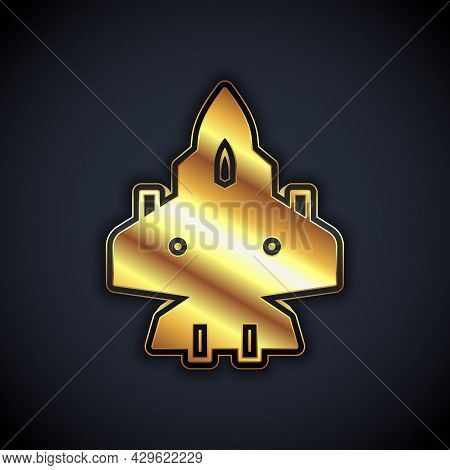 Gold Jet Fighter Icon Isolated On Black Background. Military Aircraft. Vector