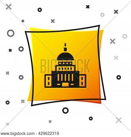 Black White House Icon Isolated On White Background. Washington Dc. Yellow Square Button. Vector