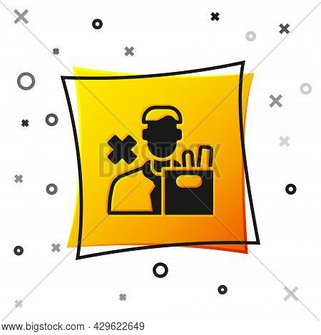 Black Dismissed Sad Young Man Carrying Box With His Personal Belonging Leaving His Job Icon Isolated