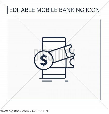 Buying Tickets Line Icon. Instant Purchase Tickets And Other Things. Using Online Banking Applicatio