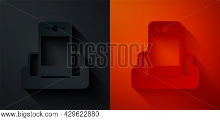 Paper Cut Metal Detector In Airport Icon Isolated On Black And Red Background. Airport Security Guar