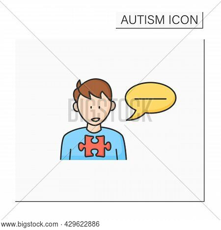 Neurodevelopmental Disorder Color Icon. Flat, Monotonous Speech. Difficulties With Tone. Autism Spec