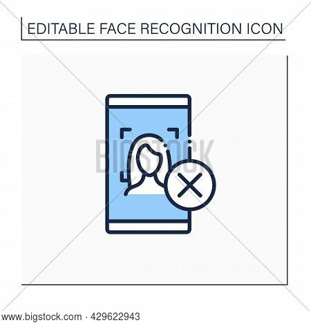 Face Scan Rejected Line Icon. Failed To Recognise Womans Face At Mobile Phone. Trouble With Authenti