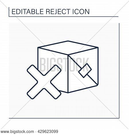 Rejected Product Line Icon. Governmental Authority Approving Or Rejecting Necessary For The Marketin