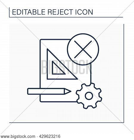 Rejected Project Line Icon. Preparation Submittal, And Cancellation Of Plans And Specifications. Den