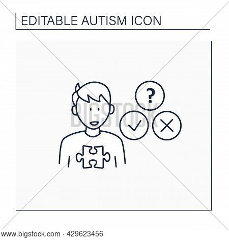 Neurodevelopmental Disorder Line Icon.socially Awkward.unable To Understand Expressions, Feelings. A