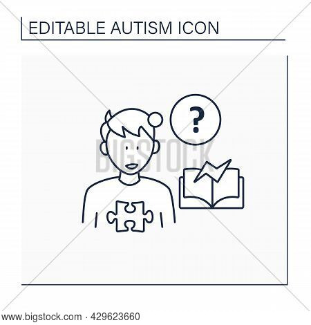 Neurodevelopmental Disorder Line Icon.learning Disability, Difficulty.abnormal Learning Ability. Aut