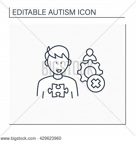 Neurodevelopmental Disorder Line Icon. Inappropriate Social Interaction. Keeps Aloof, Detached From