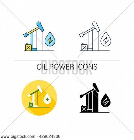 Oil Power Icons Set. Fossil Fuel Power Station. Mining Coal, Fuel Oil, Natural Gas.electricity Gener