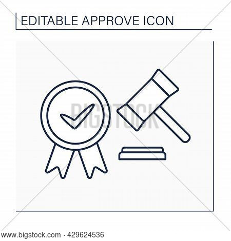 Approve Laws Line Icon. Accepted Written Act, Document Establishes Norms Of Law. Notary Approving. A