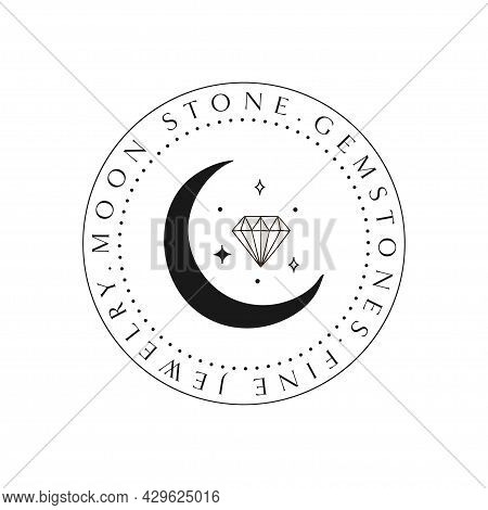 Mystic Cristal Logo Design. Stars, Gem, Crescent.
