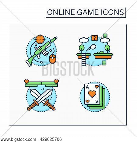 Online Game Color Icons Set. Different Game Types. Shooting, Platform, Fighting, Card Games. Modern