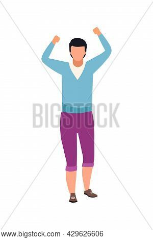 Guy Expressing Public Protest Semi Flat Color Vector Character. Full Body Person On White. Participa