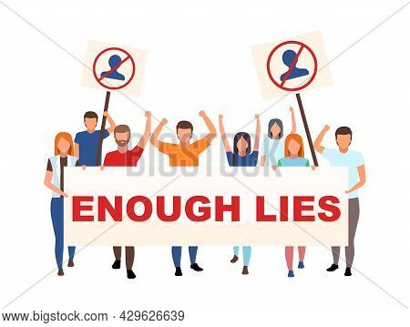 Anti-government Demonstration Flat Concept Vector Illustration. Activists With Enough Lies Placard I