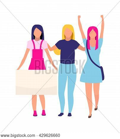 Activists Celebrate Women Empowerment Semi Flat Color Vector Characters. Full Body People On White.