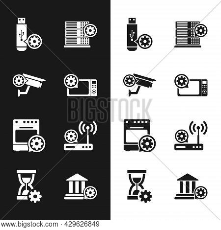 Set Microwave Oven Setting, Security Camera, Usb Flash Drive, Server, Oven And Router And Wi-fi Icon