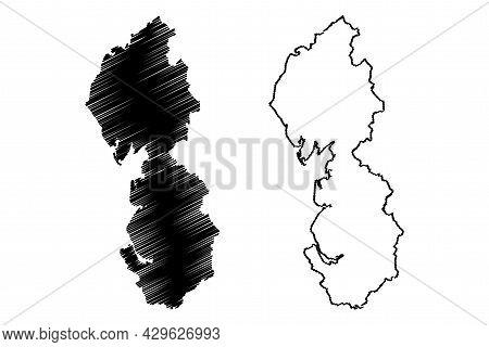 North West England Region (united Kingdom, Region Of England) Map Vector Illustration, Scribble Sket