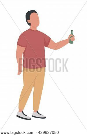 Male With Alcohol Bottle Semi Flat Color Vector Character. Standing Figure. Full Body Person On Whit