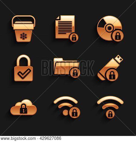 Set Folder And Lock, Wifi Locked, , Usb Flash Drive With, Cloud Computing And Lock Check Mark Icon.