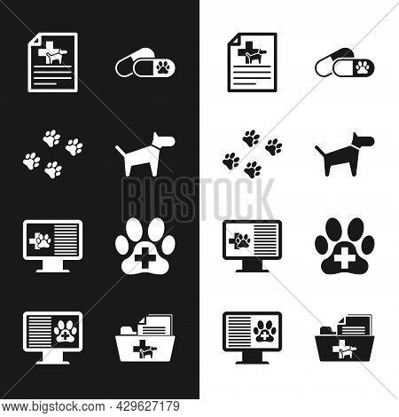 Set Dog, Paw Print, Medical Certificate For Dog Or Cat, And Pills, Clinical Record Pet On Monitor An