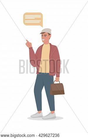 Compulsive Male Talker Semi Flat Color Vector Character. Standing Figure. Full Body Person On White.