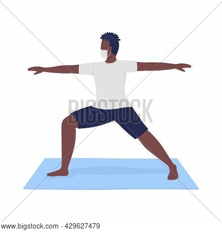 Man In Cloth Mask Performing Warrior Pose Semi Flat Color Vector Character. Full Body Person On Whit