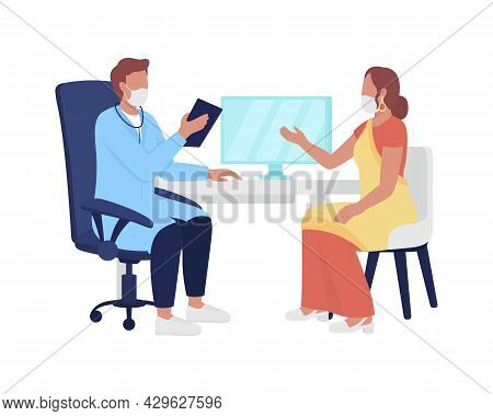 Woman Tells Doctor About Health Issues Semi Flat Color Vector Characters. Full Body People On White.